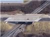 Aerial image of the new bridge above the railroad