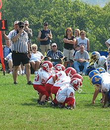 Youth Football Team Lined Up During a Game