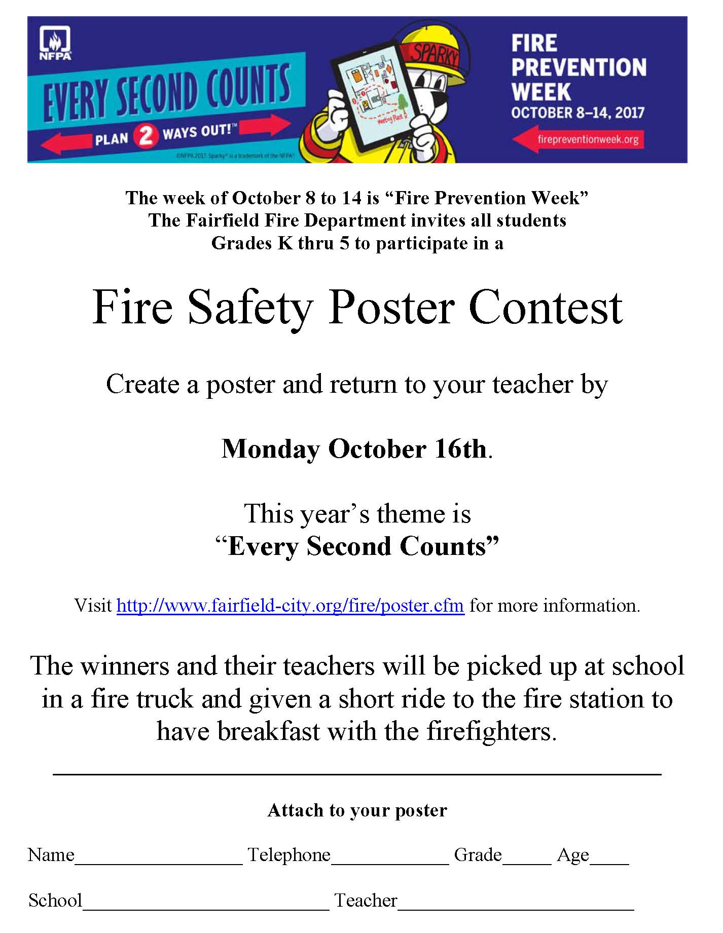 2017 Fire safety poster contest handout