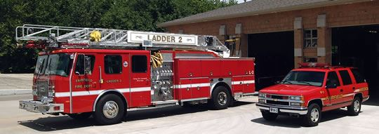 Ladder Truck and SUV
