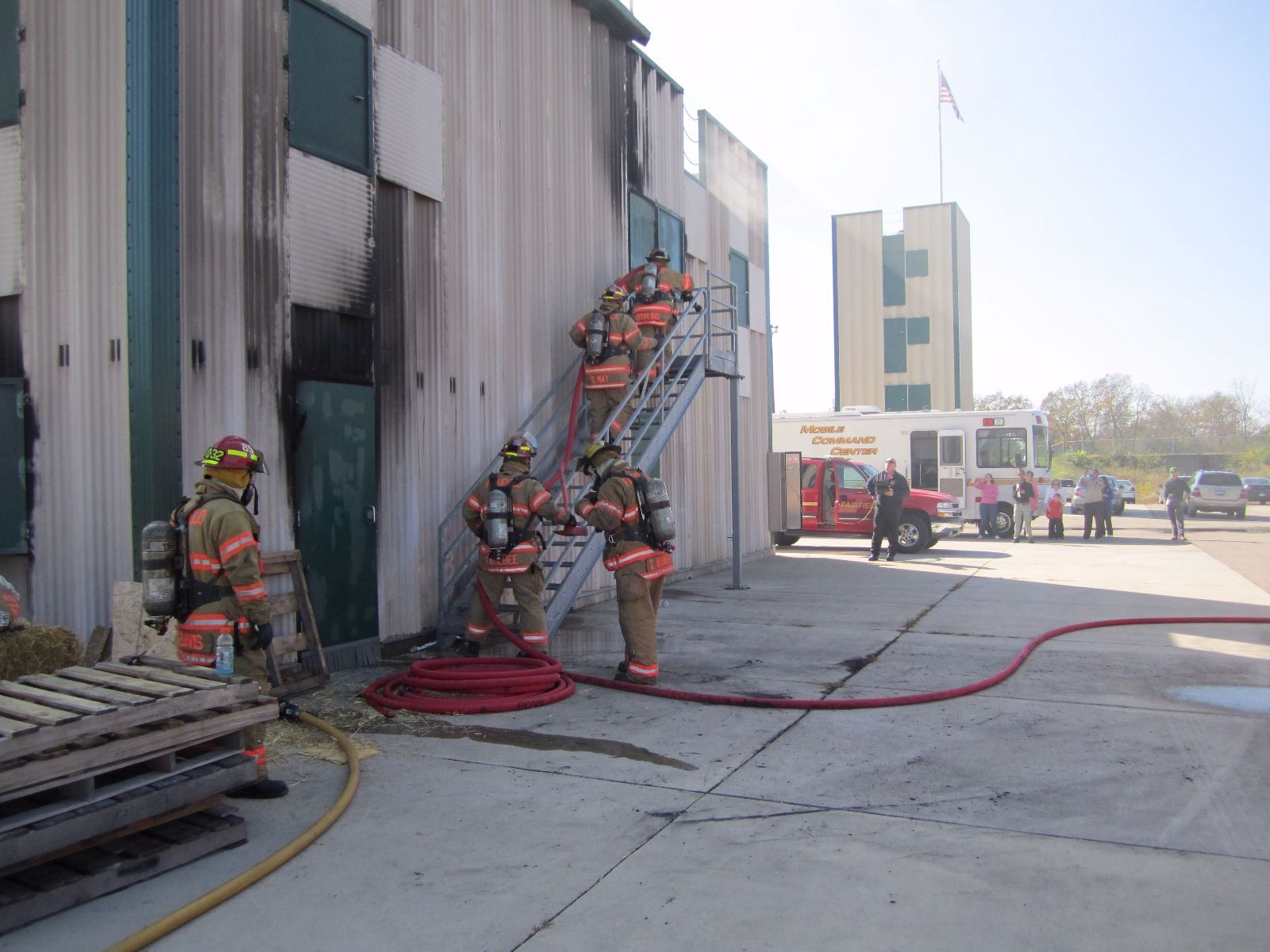 Firefighters at Burn Structure