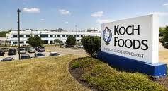 Koch Foods sign setting in front of building
